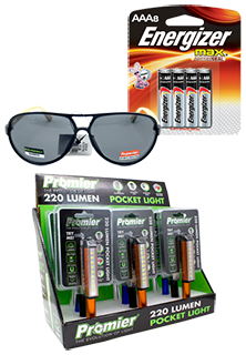 Lighters, Batteries, Flashlights and Glasses