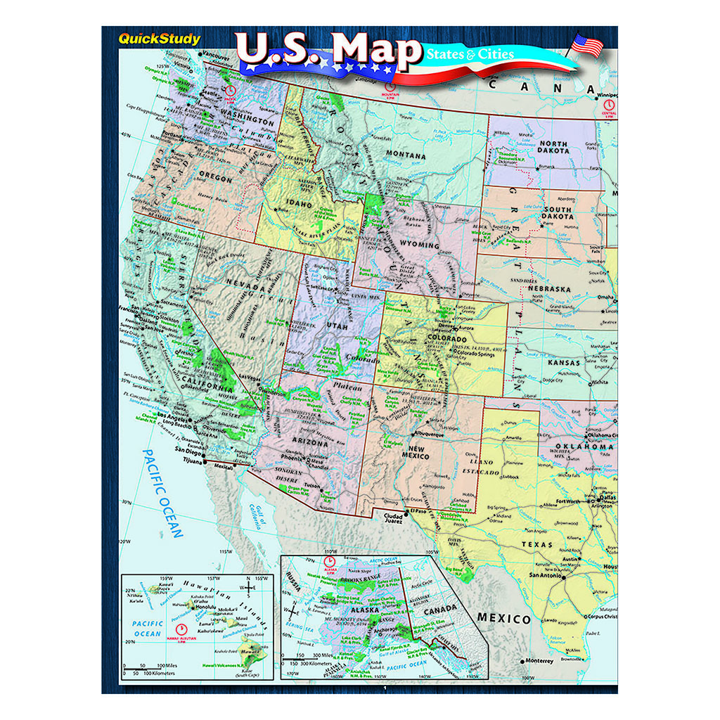 Quick Study-U.S Map States And Cities Guide - 5 Pack | Superior Auto ...