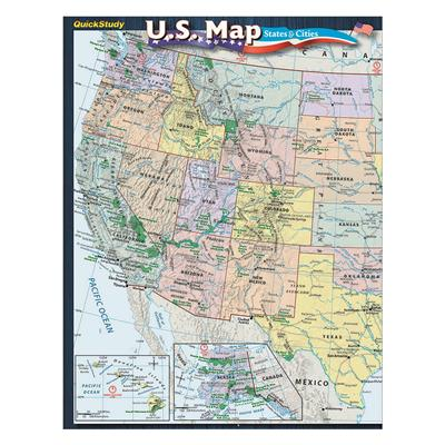 Quick Study Us Map States And Cities Guide 5 Pack Superior Auto - Us-detailed-map
